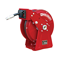 "Reelcraft DP7650 OHP- 3/8"" x 50 Ft. - High Pressure Grease- Compact Dual Pedestal Hose Reel"